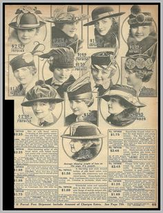1916 MORE HATS, SEARS CATALOG