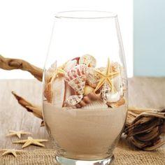 Decor ideas. Home decor ideas decorating with seashells. Seashell vase fantastic interior decor idea