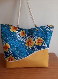 Sac Samba jaune et bleu cousu par Audrey - Patron Sacôtin