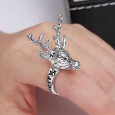 New Design Christmas Ring Hot Sale Fashion Personality Punk Vintage Deer Ring Classical Party Statement Jewelry For Women #Affiliate