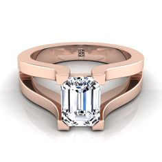 Emerald Cut Diamond Solitaire With Split Shank In Rose Gold Stackable Diamond Rings, Baguette Diamond Rings, Round Diamond Ring, Diamond Bands, Uncut Diamond, Iron Ring, Emerald Cut Diamonds, Pink Diamonds, Antique Wedding Rings