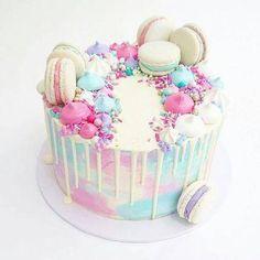 Pretty Cakes, Cute Cakes, Beautiful Cakes, Amazing Cakes, Bolo Tumblr, Macaroon Cake, Pastel Cakes, Drip Cakes, Creative Cakes