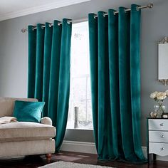 Ashford Teal Lined Eyelet Curtains Dunelm Blue Curtains Living Room, Teal Curtains, Teal Living Rooms, Colorful Curtains, Blue Bedroom, Living Room Modern, Home Living Room, Living Room Designs, Teal Bedrooms