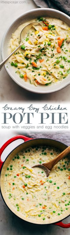 Creamy, Cozy Chicken Pot Pie Soup - A spin on the classic chicken pot pie. This soup has egg noodles, tons of veggies, chicken, and cheese to make it a complete meal! #chickenpotpiesoup #creamychickennoodlesoup #chickensoup #soup | Littlespicejar.com