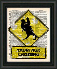 Tauntaun crossing, star wars print, retro starwars popart, dictionary page art