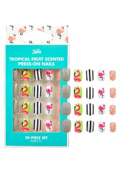 Tropical Fruit Scented Press On Nails Fake Nails For Kids, Nail Art For Girls, Girls Nails, Cute Nail Polish, Nail Polish Sets, Cute Nails, Girls Nail Designs, Flower Nail Designs, Lynn Nails