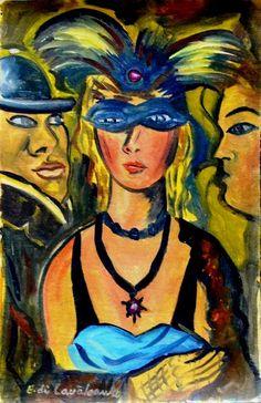 Carnaval Di Cavalcanti (Brasil, 1897-1976) óleo sobre cartão, 30 x 20 cm