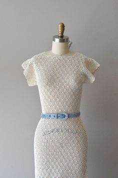 vintage 1930s Powder Light hand crochet dress ||   http://www.etsy.com/listing/98500691/crochet-dress-1930s-dress-30s-knit-dress