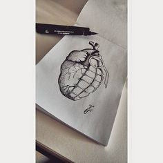 Heart grenade, dotwork, blackart