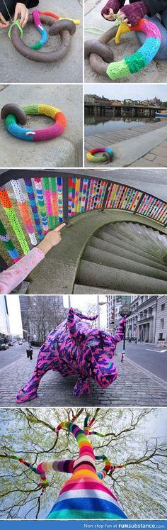Massive yarn bombing in the city