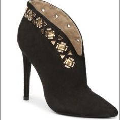 NEW ZIGI SOHO BOOTIES❤️❤️. Love! ZIGI SOHO high heel boots gold hardware. Great pointed toes dress up your chic look!  Faux suede upper   Split topline easy pull on. Pointed toe 4 1/4 covered heel Zigi Soho Shoes Heels