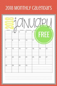 FREE 2018 Monthly Calendars