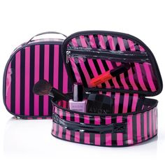 """Look your best at home and on the go! Chic striped design. 7 7/8"""" L x 6 5/16"""" W x 2 7/8 H"""". Plastic, nylon pull zipper. Includes a clear zippered pocket."""