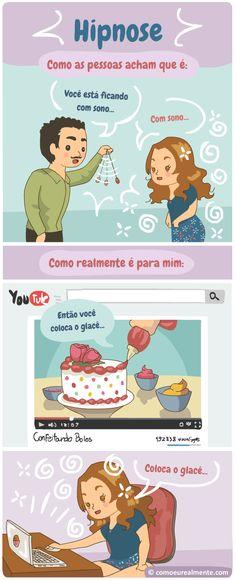 como a hipnose realmente funciona comigo, usando vídeos de gente confeitando bolo na internet