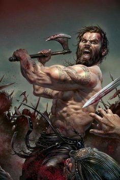 Viking Battle, Viking Warrior Men, Viking Warrior Tattoos, Viking Raven, Vikings Rollo, Les Vikings, Viking Berserker, Paladin, Barbarian Dnd