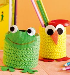 Knitting Patterns Men Can for pencils – Crochet a string or make one with the Strickliesel. The cord around a dos … Spool Knitting, Circular Knitting Needles, Knitting Patterns, Simply Knitting, How To Start Knitting, Knitting For Kids, Diy And Crafts, Crafts For Kids, Jars