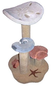 """SeaShell Cat Perch  At just over 3-1/2' tall, this window cat perch has a curved sand dollar bed, 2 shell steps, and 3 inlays on its base. It comes as it is on picture but you can add sisal to the two posts.  - Dimensions 42""""Hx27""""Wx31""""D  - Weight 27lbs  - Material Plywood, Solid Pine (Posts), 100% Nylon Carpet"""