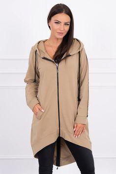 Mikina asymetrická Hooded Jacket, Bomber Jacket, Duster Coat, Athletic, Outfit, Long Hoodie, Jackets, Hoodies, Sweatshirts