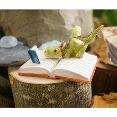 Miniature Fairy Garden Mini Dragon Reading Book