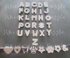 26pcs Silver Rhinestone Letter Slide Charms, 8mm slide charms, Alphabet Slide Charms, Slider Charms, Personalized Jewelry, Custom Bracelet