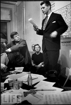 On election night in November 1952 in Boston, Senate candidate John F. Kennedy and Ethel Kennedy listen as her husband Robert reads the returns.