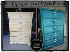 before and after opaque teal dresser by attic angel diy paint paintedfurniture blue furniture