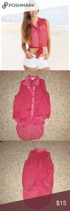 Red with White Polka Dots Top Red with white polka dots top from Body Central. Size small. Only worn once. Great condition! Body Central Tops Crop Tops