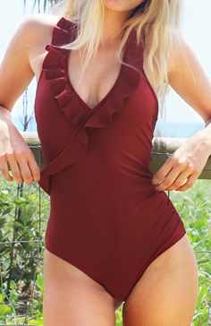 Soft and comfy Falbala One-piece Swimsuit, Hot Sale Now! Free shipping & Easy Return + Refund! It has solid color and ornamental falbala hem. Pick it up for warm spring break.