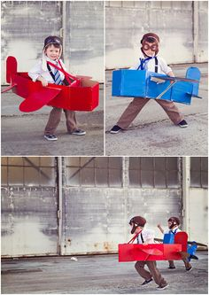 Come fly with me! Handmade cardboard box airplanes. These pictures are so cute. I love these costumes! #DIY #costume #airplane