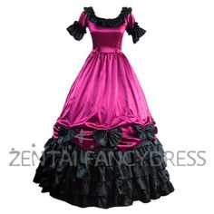 Rose Red And Black Multi Ruffles Bouble Layer Victorian Lolita Dress Short Sleeves