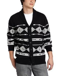 ecko unltd. Men's Weekend Warrior Shawl Cardigan, Black, Large