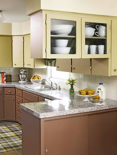 Cocoa Brown + Sage Green would be great in Mary's kitchen