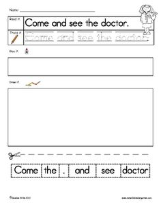$2 Handwriting practice with a Community Helpers theme while your students write their high-frequency. Students will read, write, re-arrange, and illu...