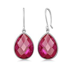 Tiaara 14 cttw Pink Sapphire Sterling Silver Dangle Earrings