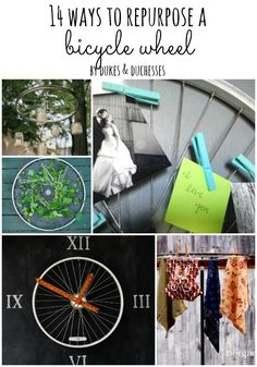 It's time for another inspirational repurposing post! This month, in honor of summer {or the end of it}, I'm sharing 14 ways to repurpose a bicycle wheel! You could grab that old bicycle wheel and transform it into a trendybike wheel chandelier… … or a creative and uniquepot rack. Abike wheel trelliswould look fantastic in …