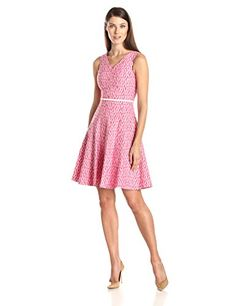 Calvin Klein Women's Sleeveless V Neck Printed Fit and Flare Dress