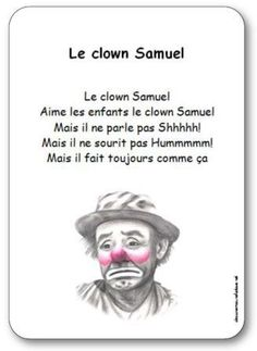 Comptine Le clown Samuel French Poems, Le Clown, Conte, Understanding Yourself, Self Help, Self Care, Mental Health, Toddlers, Simple
