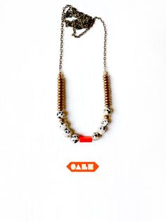 SALE orange speckle necklace