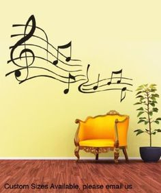 """Stickerbrand© Music Vinyl Wall Art Music Notes Wall Decal Sticker - Black, 27"""" x 39"""". Easy to Apply & Removable. Includes FREE Application Squeegee"""