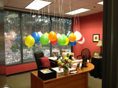 Office Birthday Decor String Up Colorful Balloons From The Ceiling Before Your Co