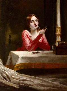 "Charles Robert Leslie, ""A Lady Contemplating Suicide (Juliet)"".  All right.  So National Trust Collections attributes this to Leslie, and BBC - Your Paintings says it is Gilbert Stuart Newton.  It certainly LOOKS almost identical to Leslie's other painting titled ""Juliet"" . . ."