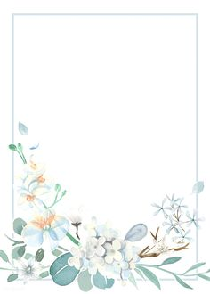 Invitation card with a light blue theme Free Vector Framed Wallpaper, Flower Background Wallpaper, Cute Wallpaper Backgrounds, Background Pictures, Flower Backgrounds, Blank Background, Theme Background, Light Blue Background, Wedding Invitation Background