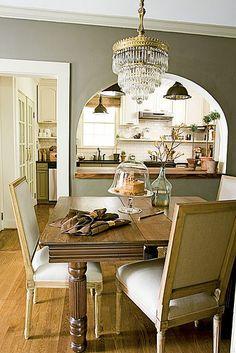 Gray dining room: Pratt  Lambert 'Sierra Night' + crystal chandelier + traditional furniture