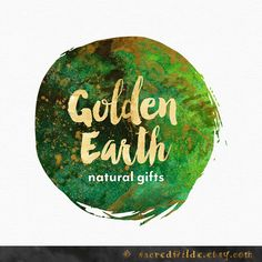 Green Logo Design , Green and Gold , Earthy Logo , Nature Logo , Green Watercolor , Herbalist Logo , Yoga Teacher , Natural Logo