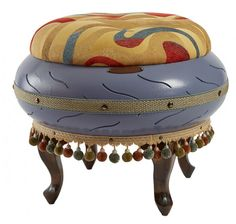 Periwinkle Blue Ottoman with Swirl Top (Mia)