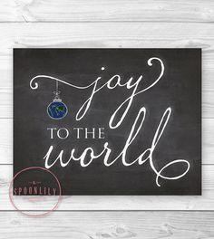 Joy to the World Chalkboard Style Wall ART PRINT, Christmas Decor, Holiday Wall Art, Christmas Art Print - Home Decor