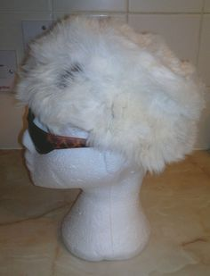 Ladies Vintage Cream & Brown Rabbit? Real Fur Hat Size 58cms Circumference