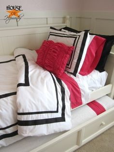I knocked-off some PBTeen bedding and saved $355! {daughters new bedding} see the other pin that has alternate bedding idea.. LOVE this! Considering it for my own room but will have to use another color besides pink. I dont think the hubster would go for pink in our bedroom.