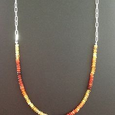 Fire opals & sterling silver elongated box chain necklace #silvercontinent