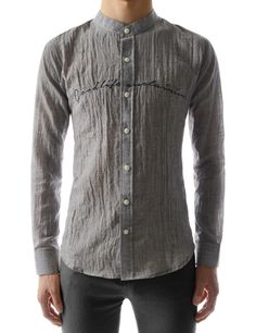 China Collar Lettering Embroidery See-Through Long Sleeve Shirts